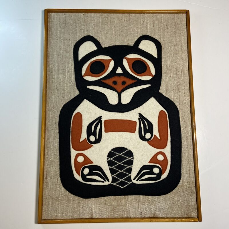 Mid Century Pacific Northwest Totem Beaver Textile Wall Art 14 X 19.5 inches