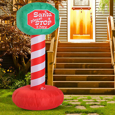 6' Inflatable Road Sign w/ Disco Light Outdoor Christmas Outdoor - Christmas Outdoor Decor