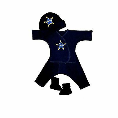 Baby Boys Police Officer 4 Piece Clothing Set - 4 Preemie and Newborn Sizes
