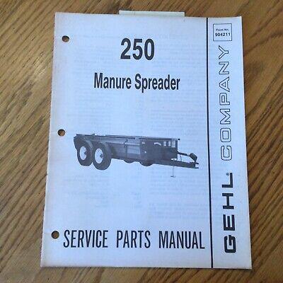 Gehl 250 Manure Spreader Service Parts Manual Book Catalog List Guide 904211