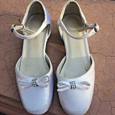 White Ivory Girls Dress Shoes Heels Pumps Rhinestone Bow❤️Youth Kids Fancy Party (White Girls Dress Shoes)