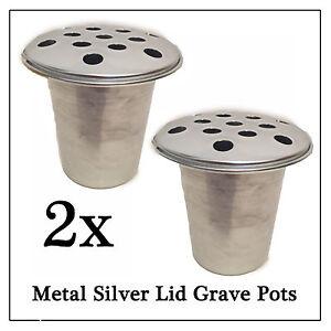 2x Metal Memorial Grave Flower Pot, Slvr Replacement Water Holder for Vase Stone