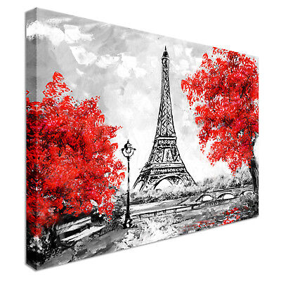 Paris black, white and red Canvas Wall Art Picture