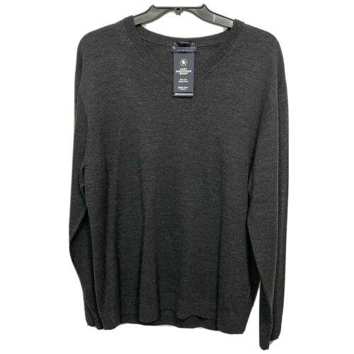 $99 Hart Schaffner Marx V-Neck L/S Sweater 2XT 2XLT Charcoal Merino Wool Clothing, Shoes & Accessories