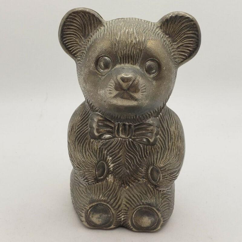 Vintage metal silver teddy bear coin bank piggy bank