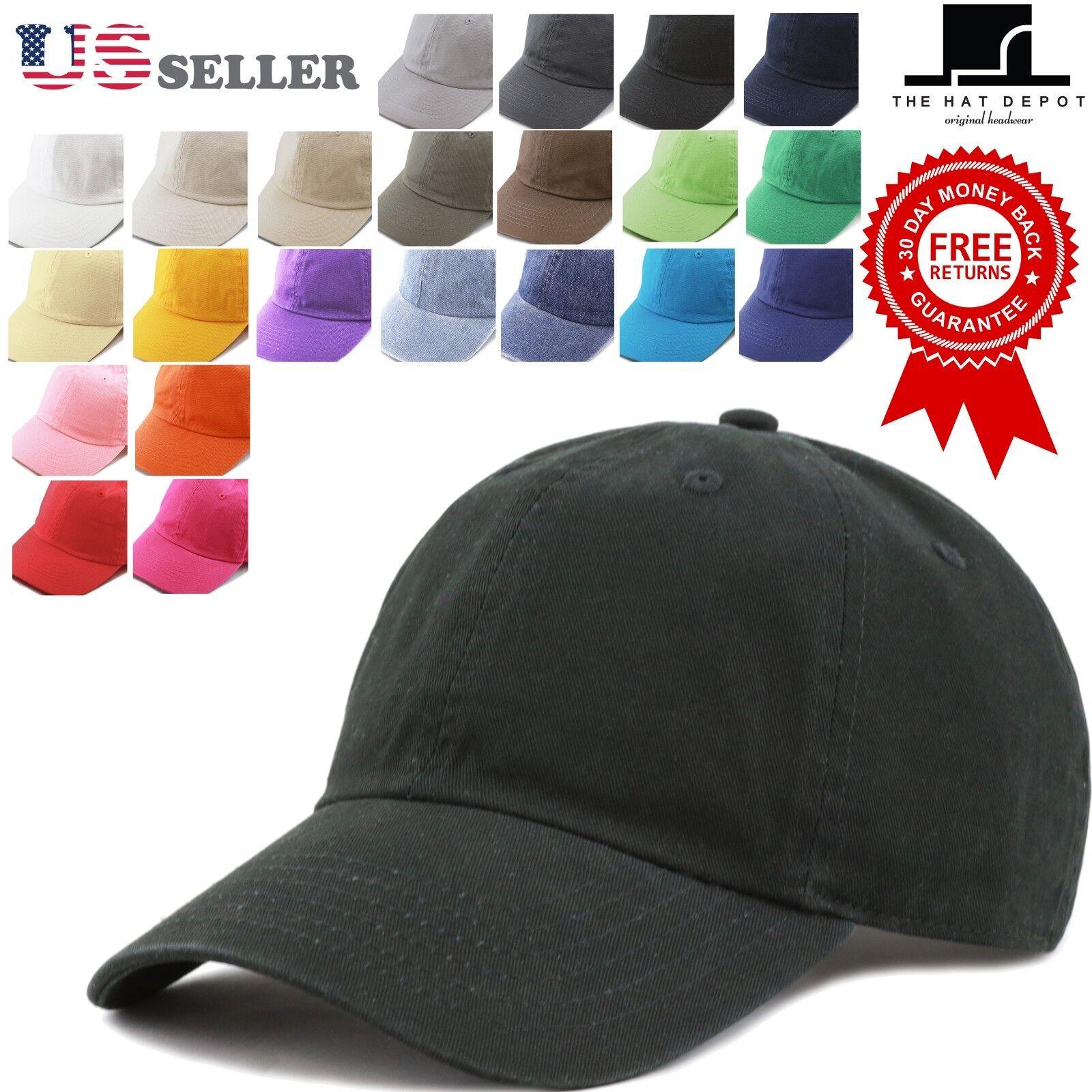 The Hat Depot Plain Washed Organic Cotton & Denim Low Profil