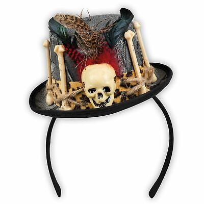 Adult's Ladies Voodoo Witch Doctor Skull Hat Halloween - Voodoo Skull Kostüm