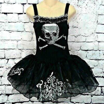 Black Tutu Halloween (Gothic Ballerina Skull Crossbones Black Tutu Dress Halloween Costume Girls)