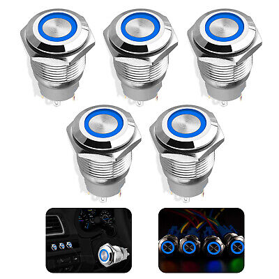 5x 16mm 12v 24v Push Button Switch Blue Led Light Momentary Latching Waterproof