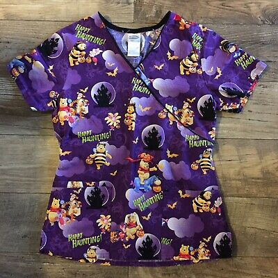 OWEEN Scrubs women XS Top- Purple (Halloween-scrubs)