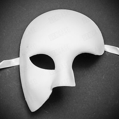 DIY White Phantom Of The Opera Venetian Mardi Gras Mask Half Face Masquerade
