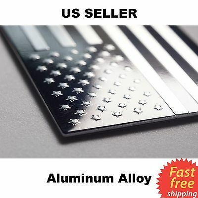 3D METAL American Flag Emblem Sticker Decal - Black & Silver Aluminum Alloy USA