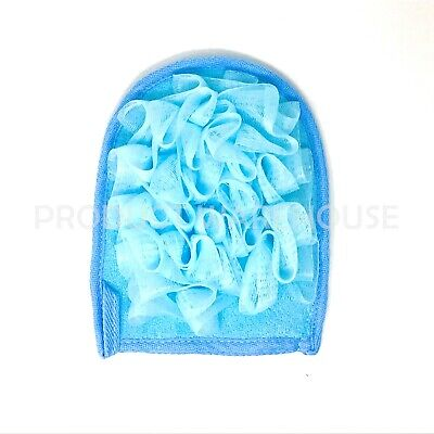 Luxury Bath Mitt Blue Exfoliating Body Scrub Pad Shower Face Massage Bath Mitten