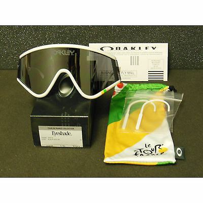 New Oakley Eyeshade Tour de France Sunglasses White/Black Iridium Cycling Retro