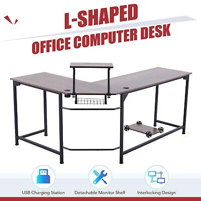 L Shaped Computer Gaming Desk W Monitor Stand Usb Ports Walnut Home