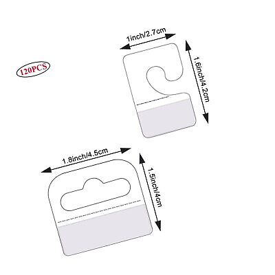 120pcs Self Adhesive Hang Tabs Hooks Display Card For Store Retail Display Sl...