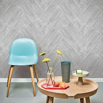 Superfresco Easy Dark Grey Herringbone Wood Wallpaper