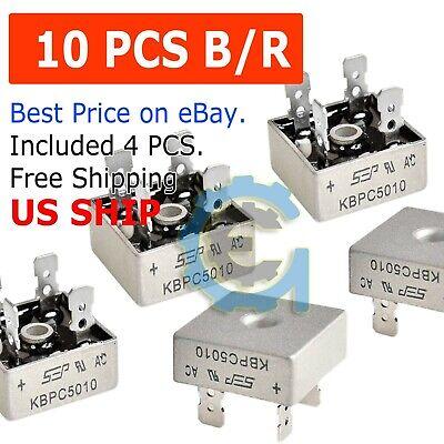 10x 10 Pcs 50a 1000v Metal Case Single Phases Diode Bridge Rectifier Kbpc5010
