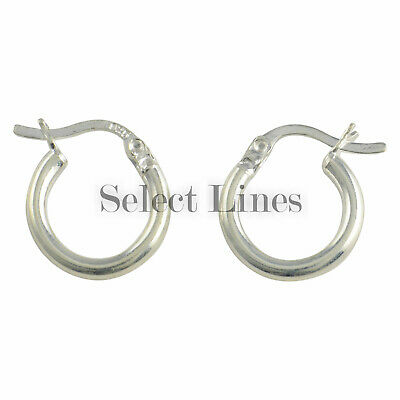 Sterling Silver 2mm Round Tube (Sterling Silver 2mm x 12mm Polished Hinged Hoop Earrings Round Hollow Tube)