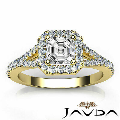 Asscher Shape Diamond Engagement GIA H VS2 18k White Gold Halo Pave Set Ring 1Ct 3
