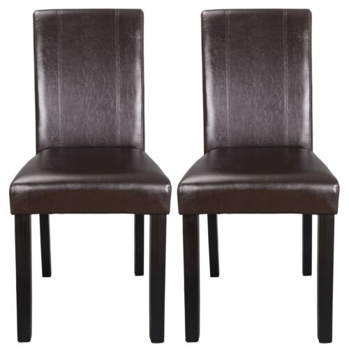 Set of 4 Brown Dining Parson Chair Armless Kitchen Room Leather Backrest Elegant Chairs