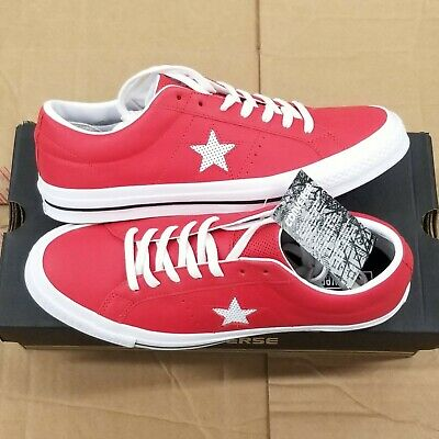 Converse One Star Leather White Casino Red Low Top