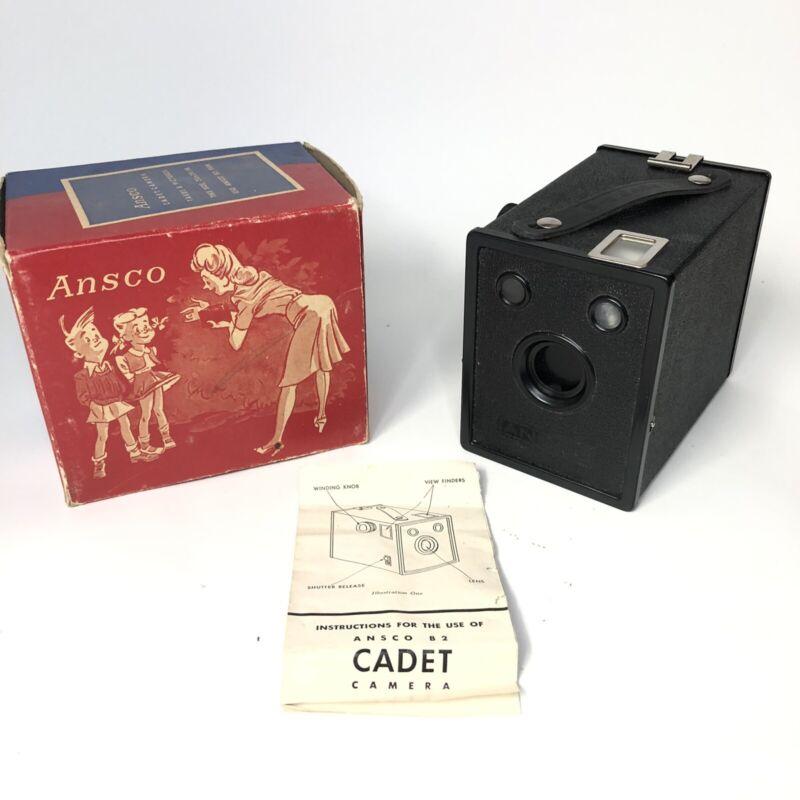 Ansco B-2 CADET Antique Box Snap Shot Film Camera - With Box - Mint Condition