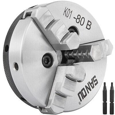 K01-80b 80mm 3 3 Jaw Lathe Chuck Reversable Milling Self Centering Hardened