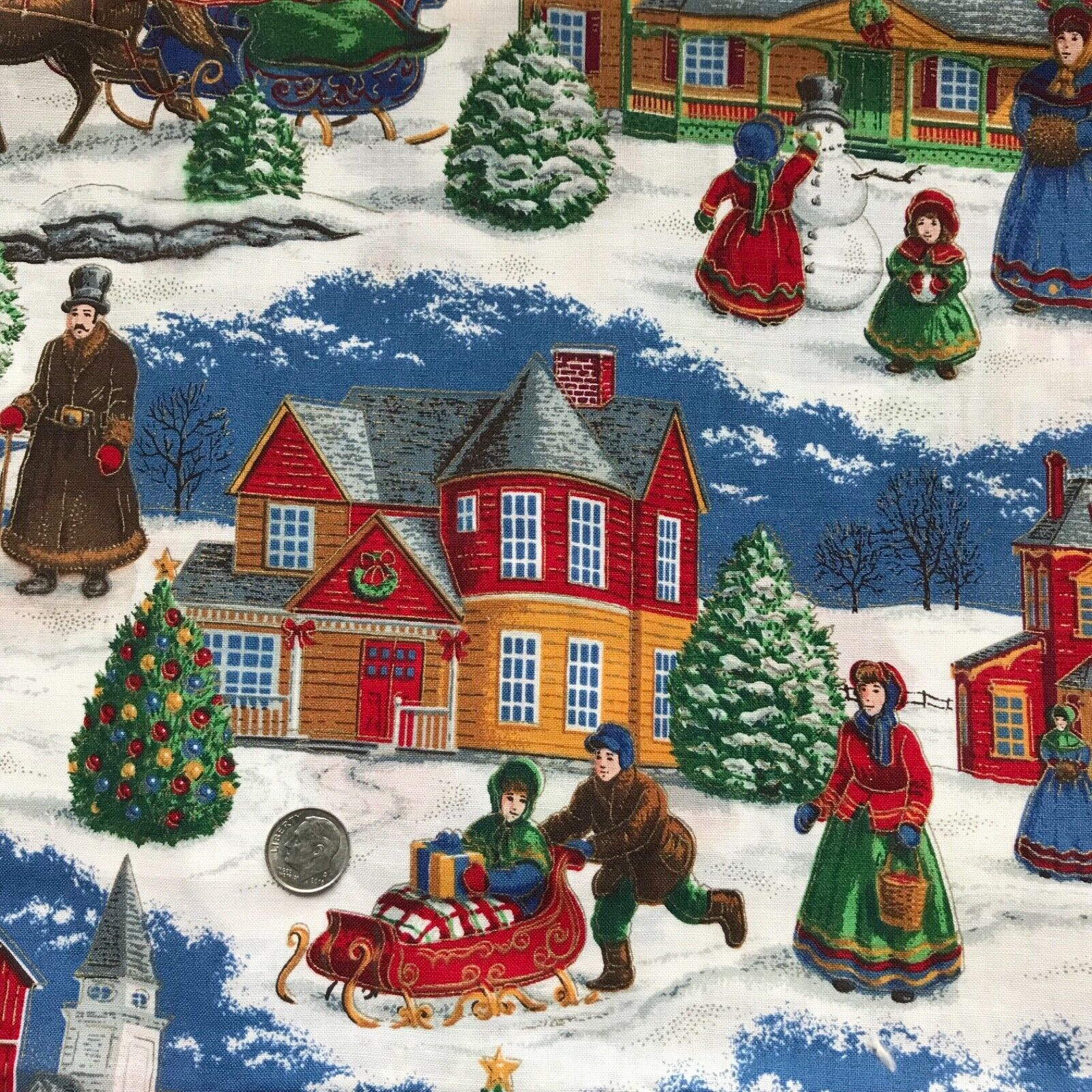 Olde Trunk Fabric Cotton Victorian Christmas Town Carolers Tree Sleigh SCRAP  - $0.89
