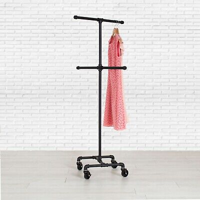 Industrial Pipe 4-way Rolling Clothing Rack By William Roberts Vintage