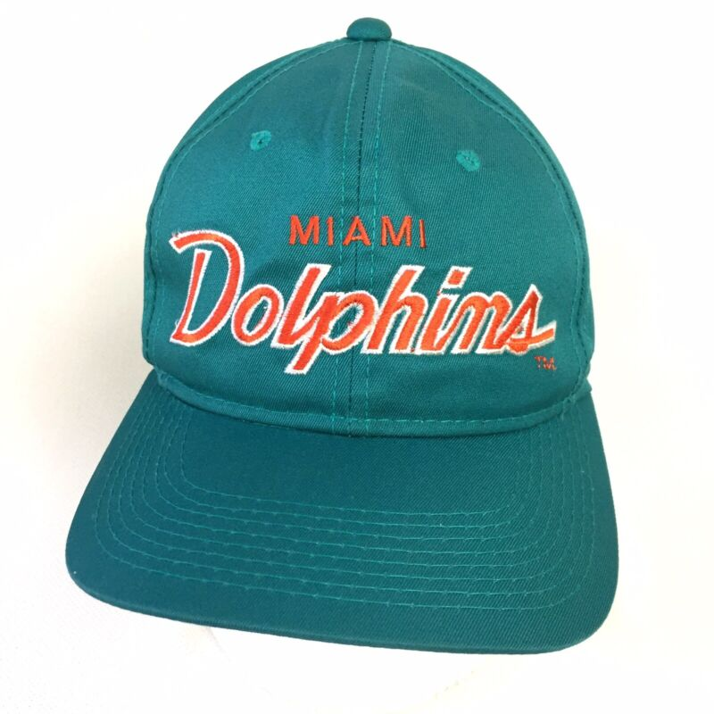 Vtg 90s Miami Dolphins NFL Embroidered Sports The Twill Snapback Cap Teal Green