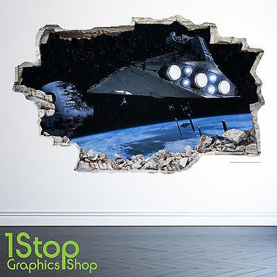 STAR WARS WALL STICKER 3D LOOK - MOON PLANET GALAXY STARS BOYS BEDROOM  Z34