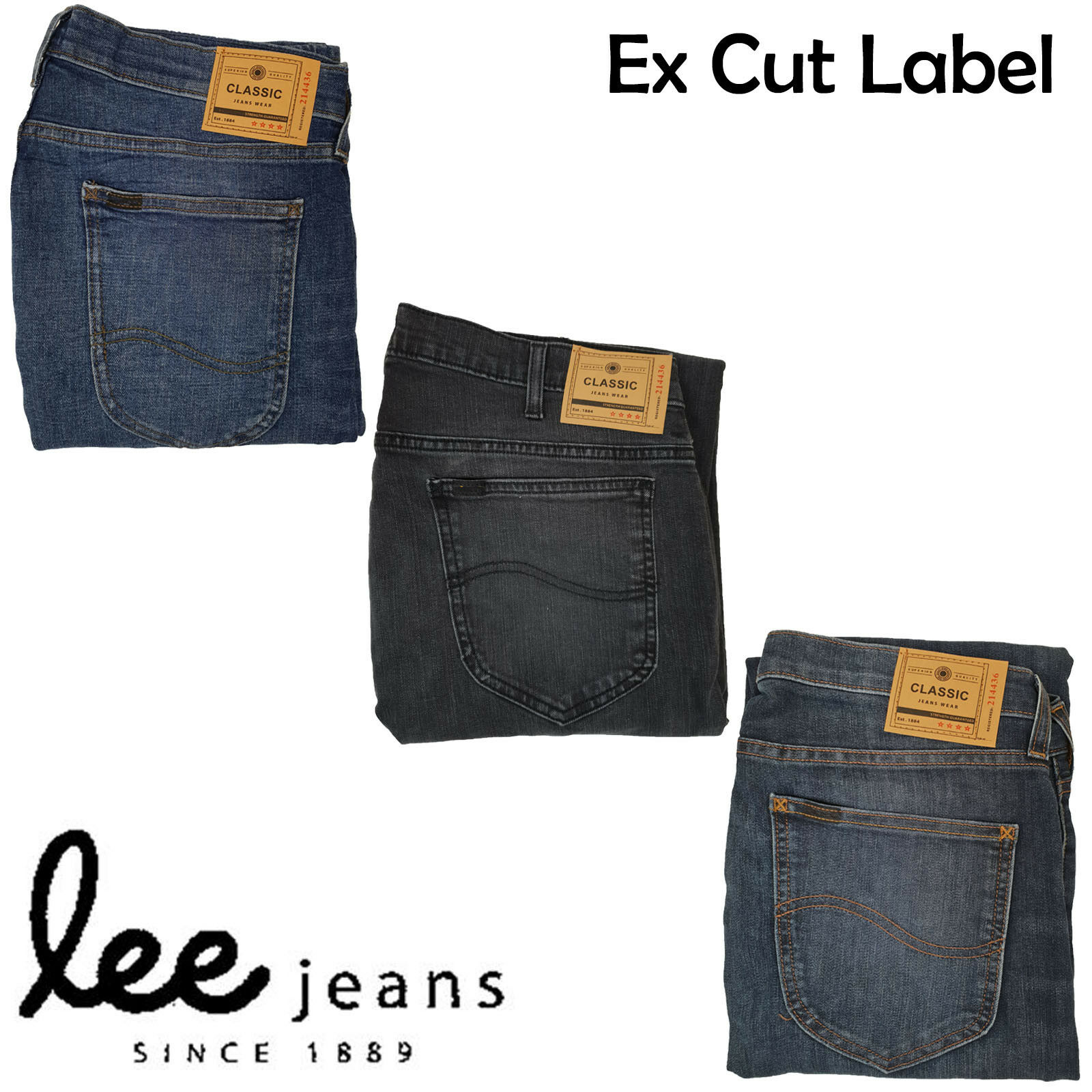 71b90ddc59 Mens Cut Label Lee Ex Store Jeans Skinny Stretch Iconic Zip Fly Cotton UK  26-48
