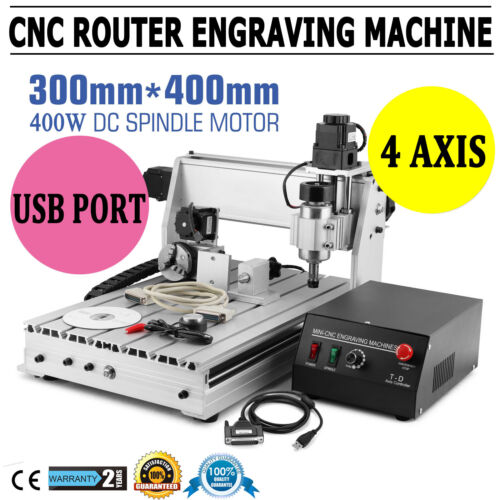 USB 4 Axis 400W 3040T CNC Router 3D Engraver Engraving Drill