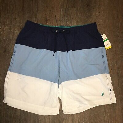 Nautica NWT men's navy, blue, & white swim trunk shorts, Size large