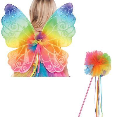 Kinder Regenbogen Fairy Flügel und Zauberstab Kostüm Verkleidung - Bogen Märchen Kostüme Zubehör