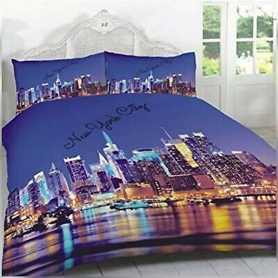 3D ILLUMINATED LUSCIOUS NEW YORK CITY PATTERNED DOUBLE DUVET QUILT COVER SET✅