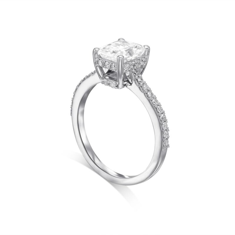 Real Diamond Engagement Ring E/si1 2.00 Ct Radiant Cut 14k White Gold