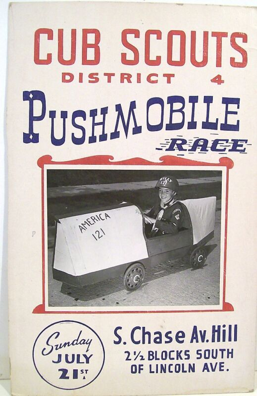 Cub Scout Pushmobile Race Display Poster – 1950-60s – Milwaukee Pack 121