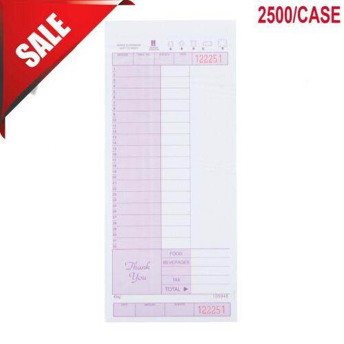 2500 Case 2 Part Carbonless Restaurant Diner Server Guest Order Receipt Check