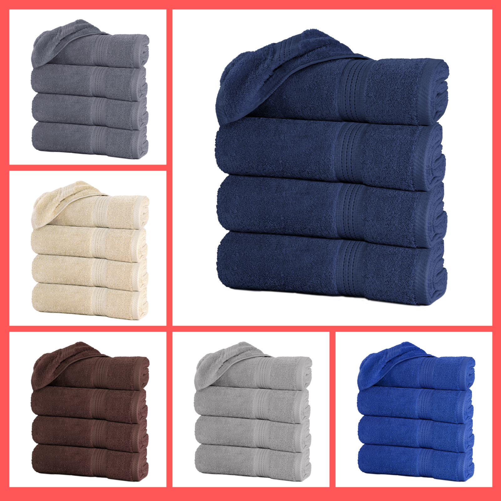 "Set of 4 Large Bath Towel Sheets 100% Cotton 27""x55"" 500 GSM"