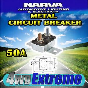 NARVA 50 AMP CIRCUIT BREAKER AUTO RESET, DUAL BATTERY 50A CARAVAN FUSE 54650