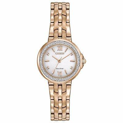 Citizen Eco-Drive Women's EM0443-59A Diamond Accents Rose Gold Tone 29mm Watch