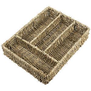 Natural Seagrass Cutlery Storage Tray Drawer Organiser Holder Vintage Caddy