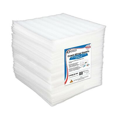 Mighty Gadget 12x12x18 Moving Supplies Packing Foam Wrap Sheets White 50pck