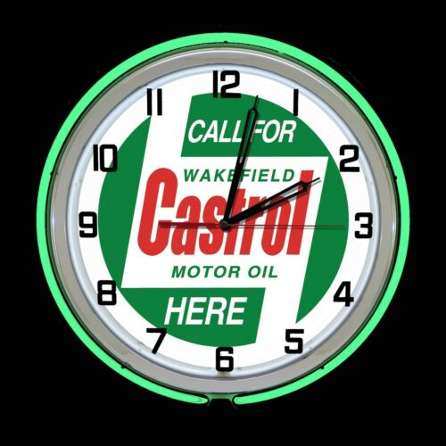 "19"" Castrol Motor Oil Green Double Neon Clock Garage Auto Shop Decor"