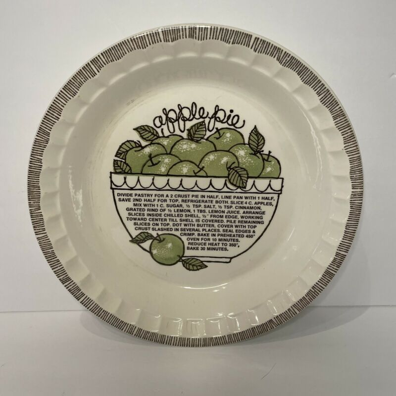 """VINTAGE ROYAL CHINA BY JEANNETTE """"Apple Pie"""" RECIPE PLATE /BAKING DISH USA"""