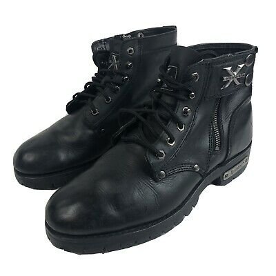 Mens 12 M  Xelement Black Leather Motorcycle Boots Combat Advanced Oil Resistant