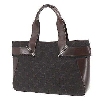 GUCCI Original GG Tote Hand Bag Brown Canvas Leather Vintage Authentic #PP998 O