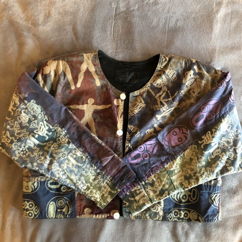 Vintage 1980s Cropped Jacket with Small Shoulder Pads Boho Tribal Print L